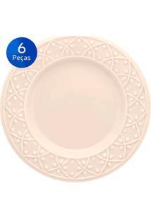 Conjunto De Pratos Para Sobremesa 6 Peças Mendi Marfim - Oxford - Off White