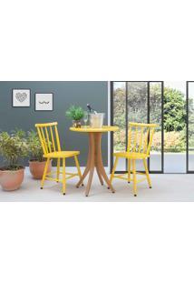 Mesa De Restaurante Com 2 Cadeiras Redonda Juliette - Jatobá E Amarelo