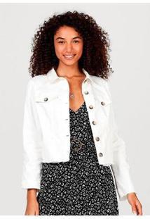 Jaqueta Em Sarja De Algodão Com Bolso Hering Feminina - Feminino-Branco