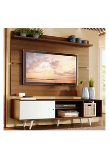 Rack Madesa Dubai E Painel Para Tv Até 65 Polegadas Com Pés Rustic/Branco 6E6E Branco