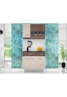 Cozinha Com 6 Portas Manu Amêndoa/Capuccino - Lc Móveis