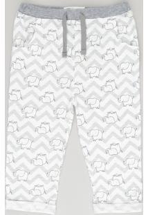Calça Estampada De Elefantes Em Algodão + Sustentável Cinza Claro