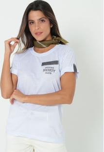 Camiseta Com Bolso- Branca & Azul- Bikiny Societybikiny Society