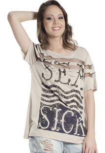 Camiseta Douglas Harris T-Shirt Estampada Bege