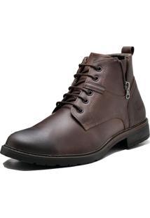 Bota Social De Couro Na Cor Café Super Macia E Confortável Atron Shoes