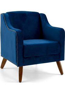 Poltrona Decorativa Pés Palitos Claire-Combinare - Azul