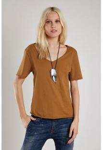 Camiseta Sacada Malha Mix Stone Feminina - Feminino-Caramelo