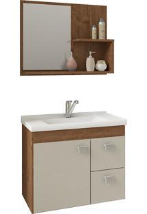 Conjunto Para Banheiro Com 1 Porta E 2 Gavetas Hortência-Mgm - Amendoa / Off White