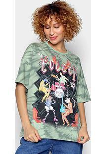 Camiseta Colcci Animal Band Tie Dye Feminina - Feminino-Verde