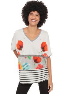 Camiseta Desigual Luisa Off-White/Preta