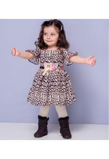 Vestido Infantil Em Tecido Estampado De Oncinha Com Fita E Broche De Urso E Flor