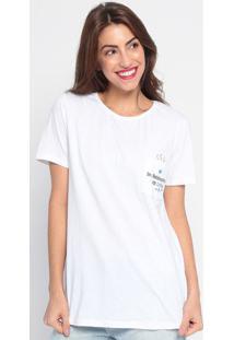 Camiseta Com Inscrições & Bolso - Branca & Preta- Mymy Favorite Things