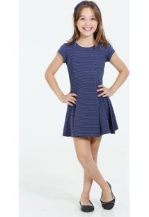 Vestido Infantil Manga Curta Listrado Marisa