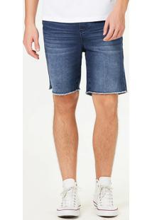 Bermuda Moletom Jeans Masculina Slim Com Amarração