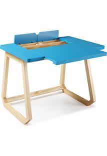 Escrivaninha Azul Claro - Mesa Para Computador Hush 94X77,5X73,5Cm - Taeda E Cor Azul Claro