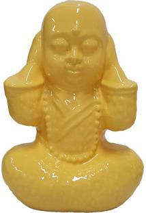 Estátua Decorativa Buda Não Ouço Amarela