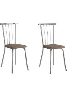 Kit 2 Cadeiras 154 Camurça Conhaque/Cromado - Carraro Móveis
