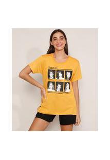 "Camiseta Friends Class Of 2004"" Manga Curta Decote Redondo Mostarda"""