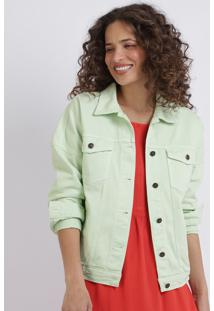 Jaqueta De Sarja Feminina Com Bolos E Botões Barra Com Elástico Verde Claro