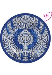 Conjunto De Pratos Para Sobremesa Arabesca- Off White & Scalla Cerâmica