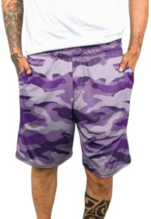 Bermuda Chess Clothing Dri-Fit Camuflado Roxo