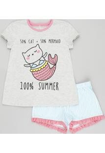 Pijama Infantil Gato Sereia Manga Curta Com Estampa Listrada Cinza Mescla 23fee4eca4b