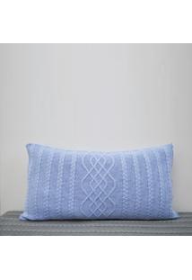 Capa Almofada Tricot 60X40Cm Czíper Sofa Trico Cod 1026.3 Azul Bebe