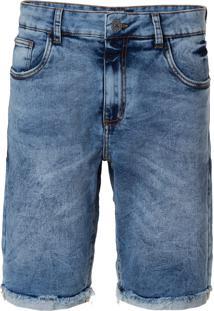Bermuda John John Clássica Vidal Moletom Jeans Azul Masculina (Jeans Claro, 36)
