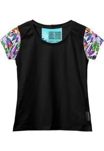 Camiseta Baby Look Feminina Algodão Estampa Folha Macia Moda - Feminino