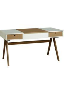Mesa Escrivaninha Delacroix 430 Nogal/Branco/Marrom Médio - Maxima