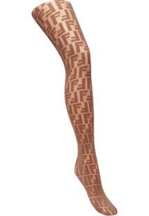 Fendi Meia Calça Com Logo Bordado - Marrom