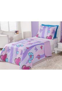 Cobre Leito Infantil Corações E Borboletas - Cobre Leito + Porta Travesseiro - Aquarela