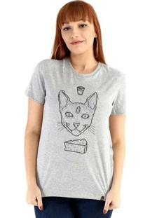 Baby Look Ouroboros Manga Curta Cat Demon - Feminino-Cinza