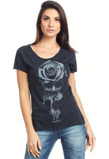 Camiseta Bossa Brasil Caveira Rosa Preto