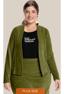 Casaco Plus Size Veludo Cotelê Verde