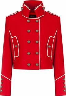 Dolce & Gabbana Jaqueta Militar Cropped - Vermelho