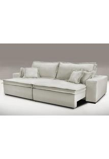 Sofa Retrátil E Reclinável Com Molas Cama Inbox Premium 3,12M Tecido Em Linho Bege Claro