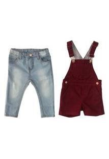 Calça Skinny E Jardineira Macacao Mabu Denim Jeans/Bordô