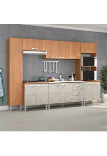 Cozinha Completa Master Sem Tampo Cm06 Nogal/Concreto - Fellicci