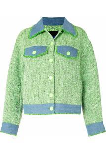 Sjyp Jaqueta Jeans De Tweed - Verde