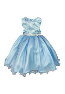 Vestido De Festa Infantil Azul Cinderela Regata