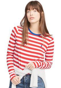 Camiseta Polo Ralph Lauren Reta Stripes Vermelha/Branca