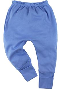 Calça De Bebê Era Uma Vez Com Pé Reversível Royal Com Bordado No Bum Bum