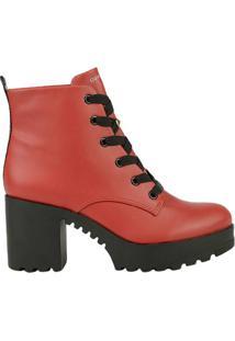 11c18ac7ef45f Bota Coturno Cravo E Canela New Pele Scarlet Feminino - Feminino-Vermelho