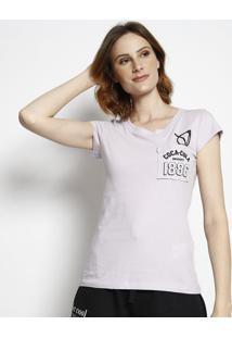 "Camiseta ""Coca-Colaâ® 1886"" - Roxo Claro & Preta - Cococa-Cola"