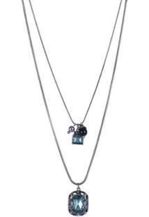 Colar Armazem Rr Bijoux Duplo Cristal Quadrado - Feminino-Azul