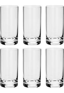 Conjunto 6 Copos Altos De Cristal Long Drink 380 Ml Set-Bar Favorit - Bohemia - Transparente