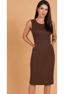 Vestido Marrom Com Bolsos Moda Evangélica