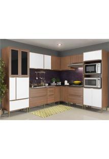 Cozinha Completa Multimã³Veis Com 8 Peã§As Calã¡Bria 5461 Nogueira/Branco - Incolor - Dafiti