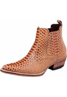 Bota Botina Em Couro Snap Shoes Amarela